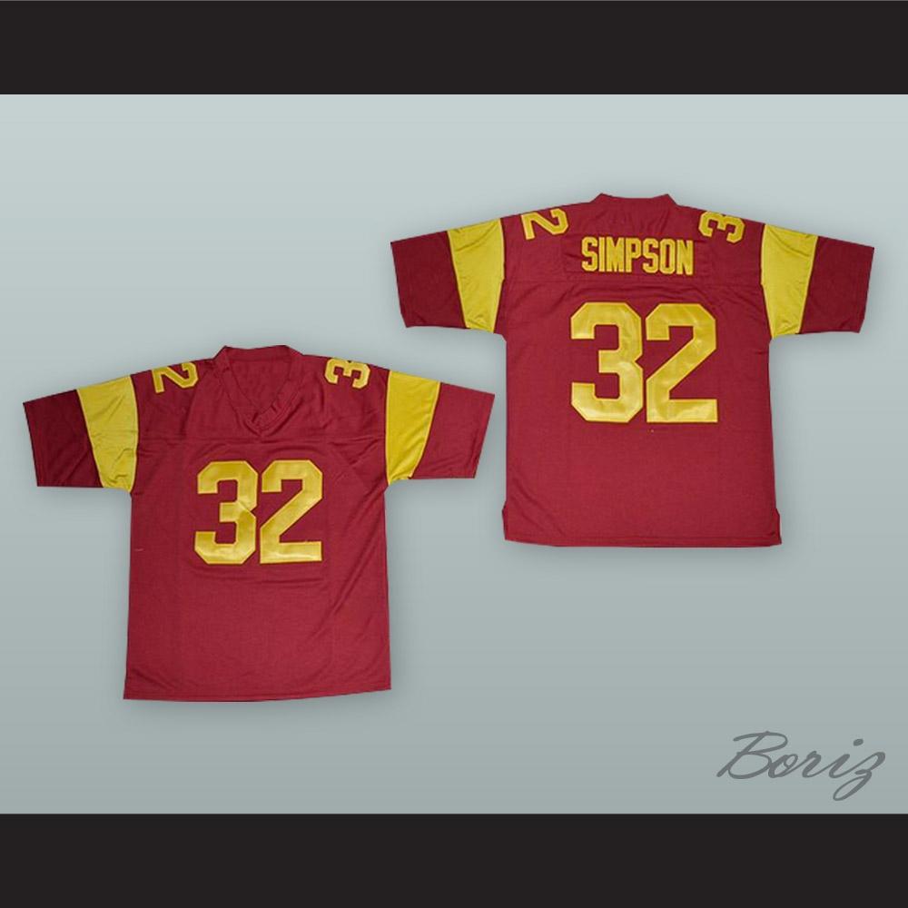 big sale f250f f1693 O. J. Simpson 32 USC Red Football Jersey