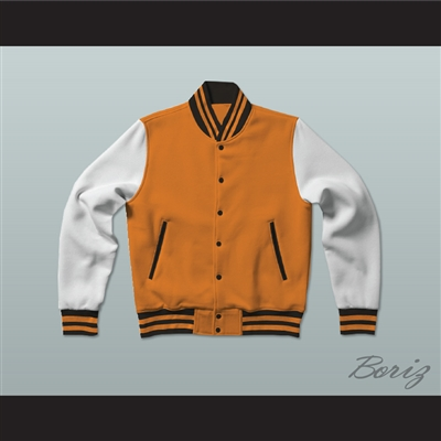 Orange, Black and White Varsity Letterman Jacket-Style Sweatshirt