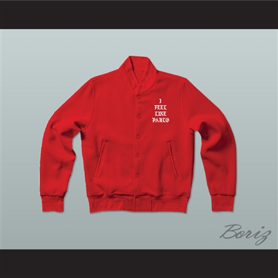 Pablo Escobar I Feel Like Pablo Red Varsity Letterman Jacket-Style Sweatshirt
