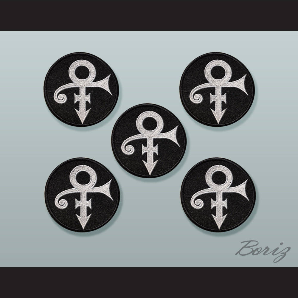 Set Of 5 Prince Symbol Whiteblack Circle Embroidered Patches