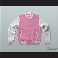 Pink and White Varsity Letterman Jacket-Style Sweatshirt