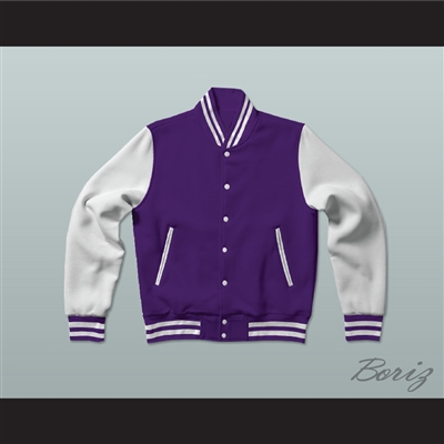 Purple and White Varsity Letterman Jacket-Style Sweatshirt