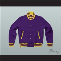 Purple and Yellow Varsity Letterman Jacket-Style Sweatshirt