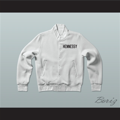 Shook Ones 95 Hennessy Queens Bridge White Varsity Letterman Jacket-Style Sweatshirt