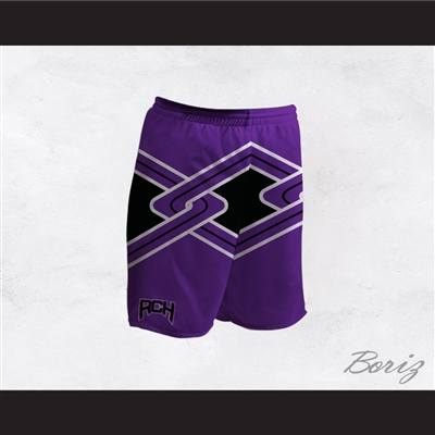 Rancho Carne High School Toros Male Cheerleader Purple Uniform Shorts