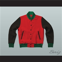 Red, Black and Green Varsity Letterman Jacket-Style Sweatshirt