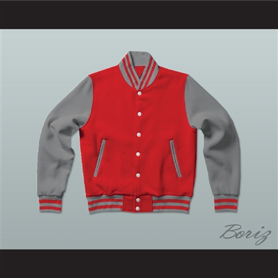Red and Gray Varsity Letterman Jacket-Style Sweatshirt
