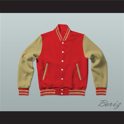 Red and Old Gold Varsity Letterman Jacket-Style Sweatshirt