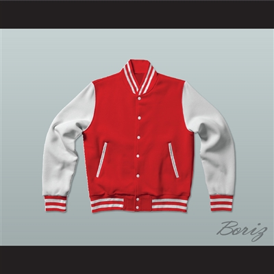 Red and White Varsity Letterman Jacket-Style Sweatshirt