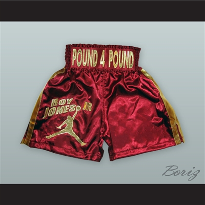 Roy Jones Jr. Maroon/Gold Boxing Shorts