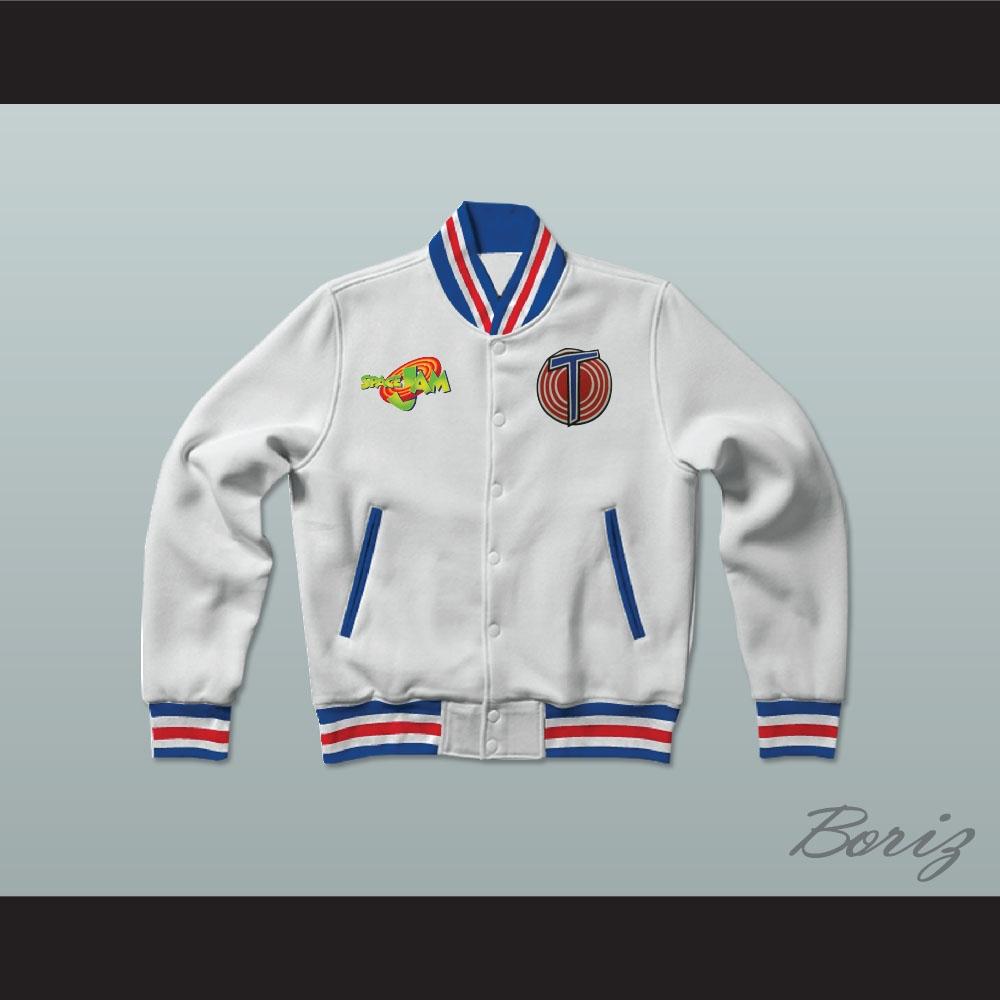 cb5f8ec0188a31 Michael Jordan Space Jam Tune Squad White Letterman Jacket-Style ...