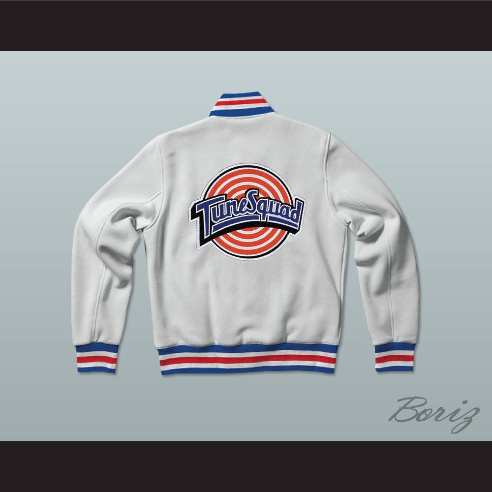 size 40 e6c70 f8398 Michael Jordan Space Jam Tune Squad White Letterman Jacket-Style Sweatshirt