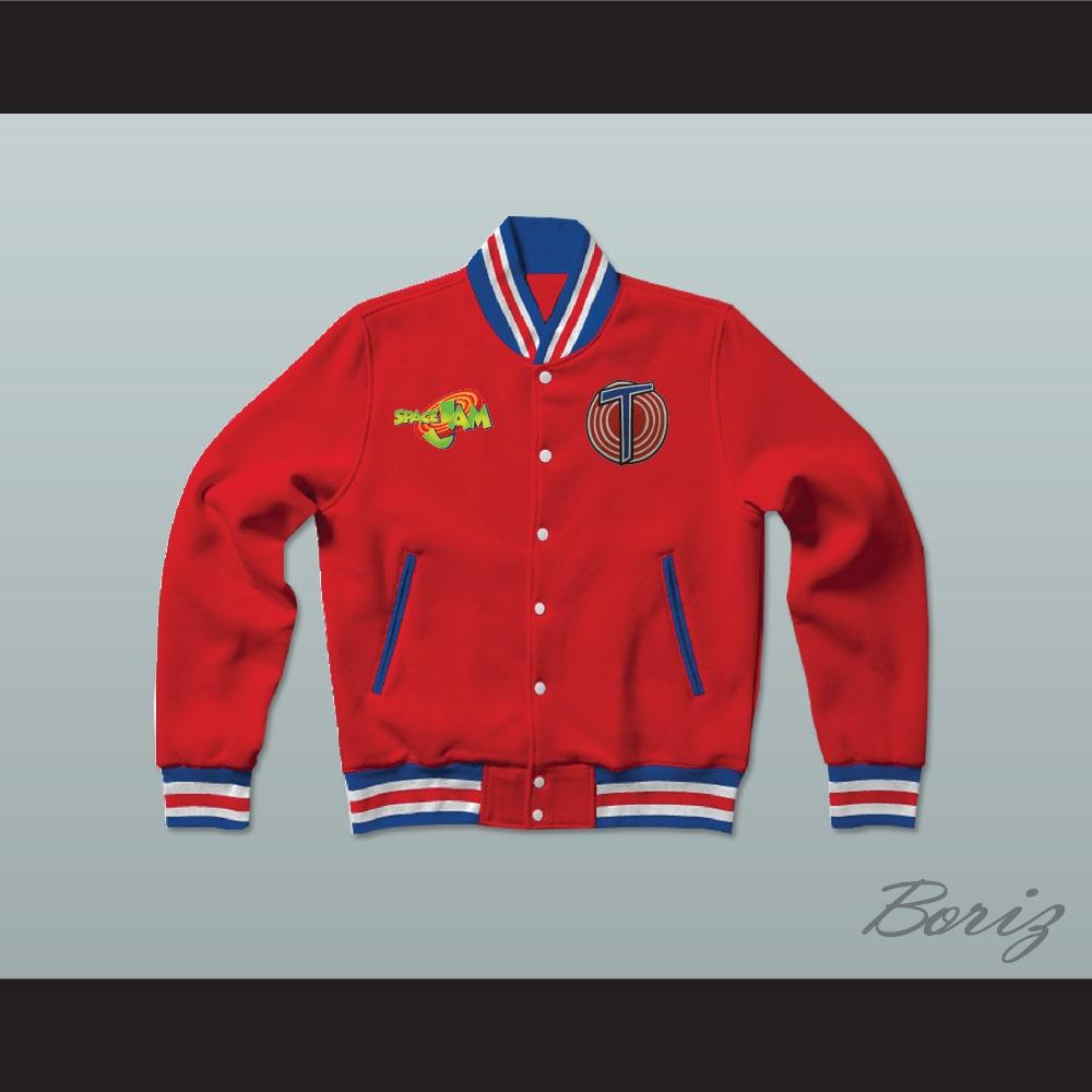 05b2473a729230 Michael Jordan Space Jam Tune Squad Red Letterman Jacket-Style ...