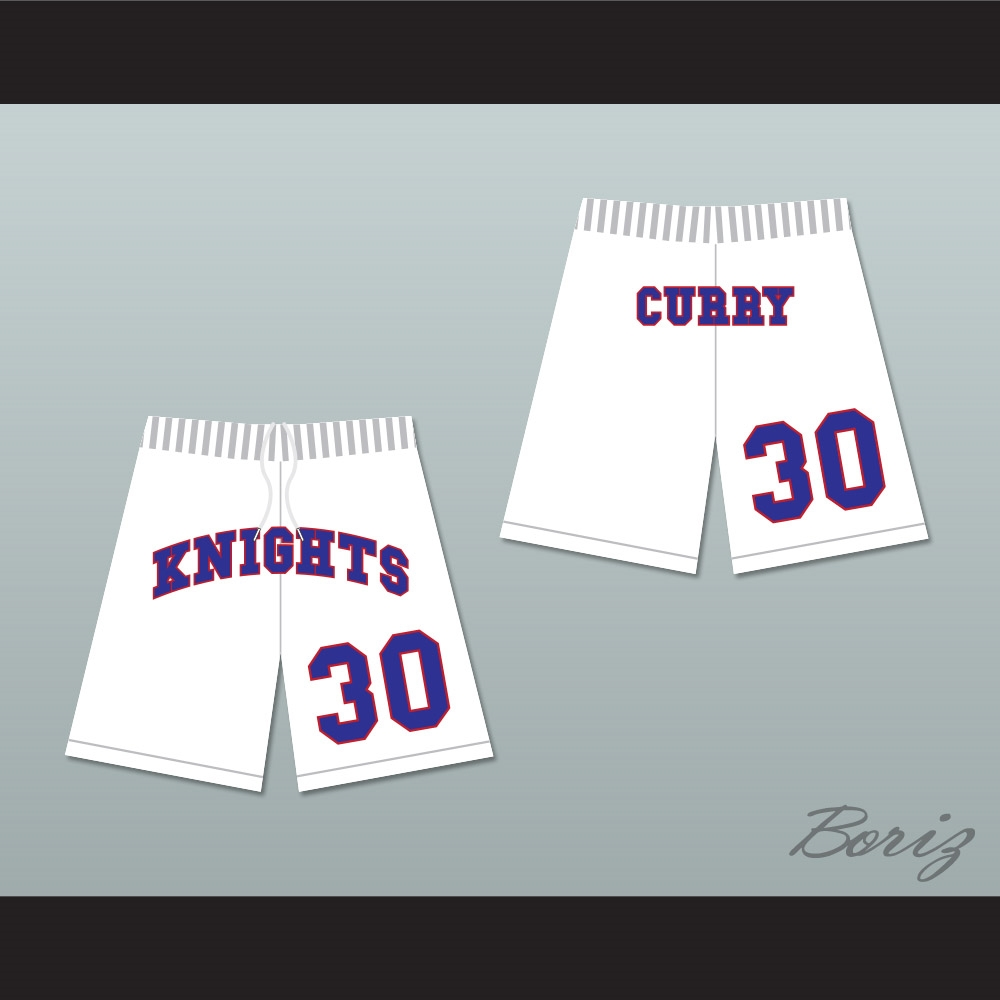 e5cc895ea670 Stephen Curry 30 Charlotte Christian High School Knights White Basketball  Shorts