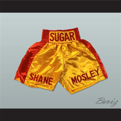 Sugar Shane Mosley Gold and Red Boxing Shorts