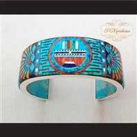 P Middleton Sun Face Cuff Bracelet Sterling Silver .925 Micro Inlay Stones