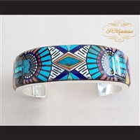 P Middleton Sun God Micro Inlay Cuff Bracelet Sterling Silver .925