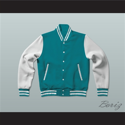 Teal and White Varsity Letterman Jacket-Style Sweatshirt