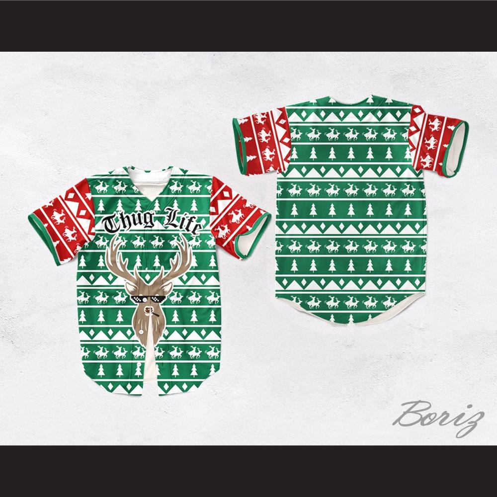 Christmas Jersey Design.Thug Life Christmas Deer Baseball Jersey Design 5