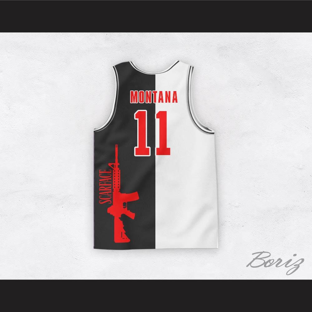 purchase cheap f9a97 cd1a4 Tony Montana 11 Scarface Black and White Basketball Jersey