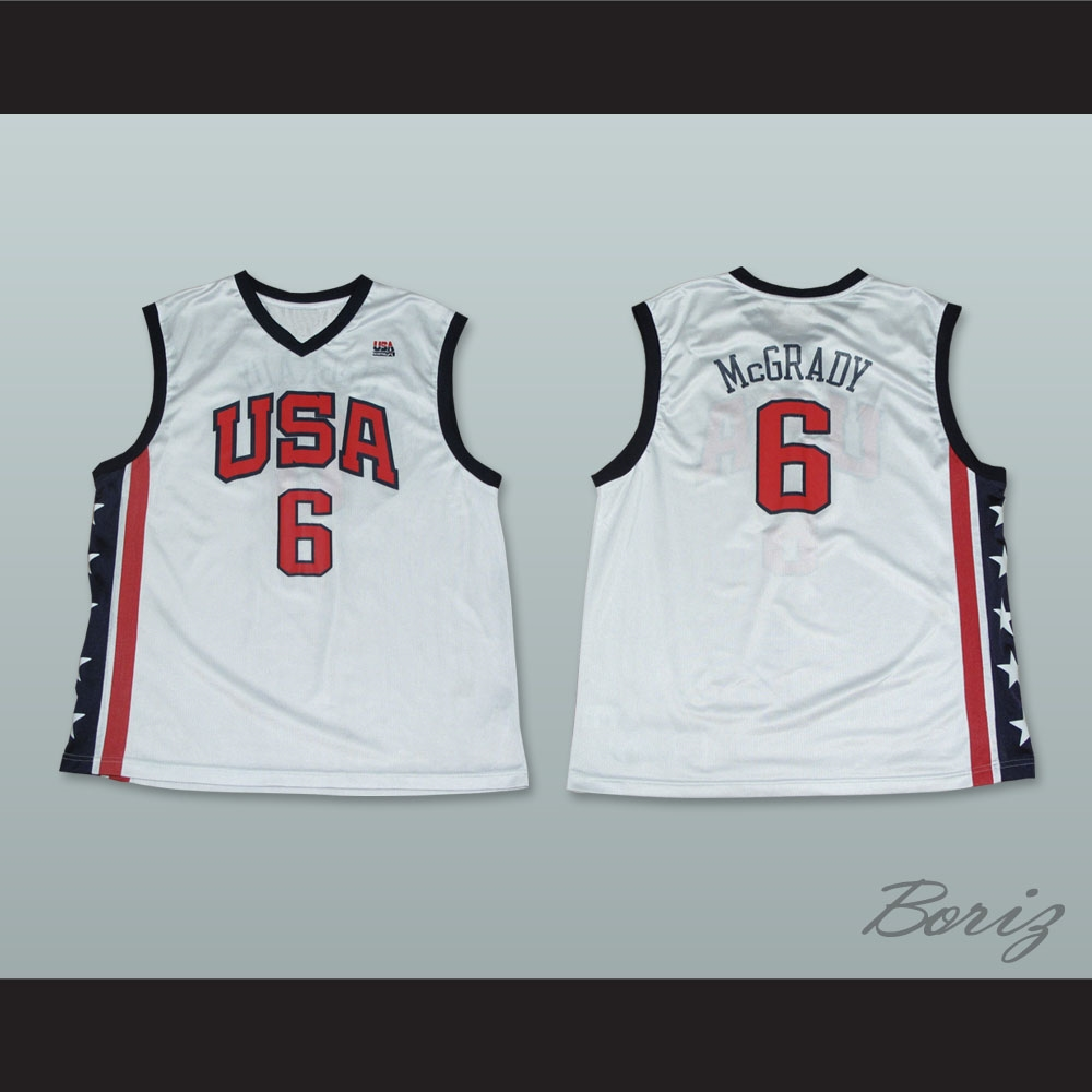 brand new 23b51 b8042 Tracy McGrady 6 Team USA White Basketball Jersey