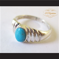 P Middleton Turquoise Ripple Ring Sterling Silver .925