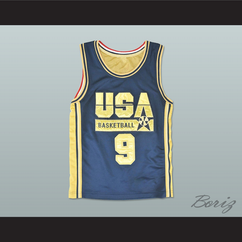 big sale e573a c061a Michael Jordan 9 USA Blue and Gold Basketball Jersey