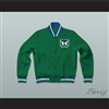 Hartford Whalers Hockey Green Letterman Jacket-Style Sweatshirt
