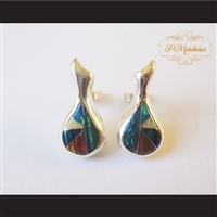 P Middleton Water Drop Earrings Sterling Silver .925 with Micro Inlay Stones