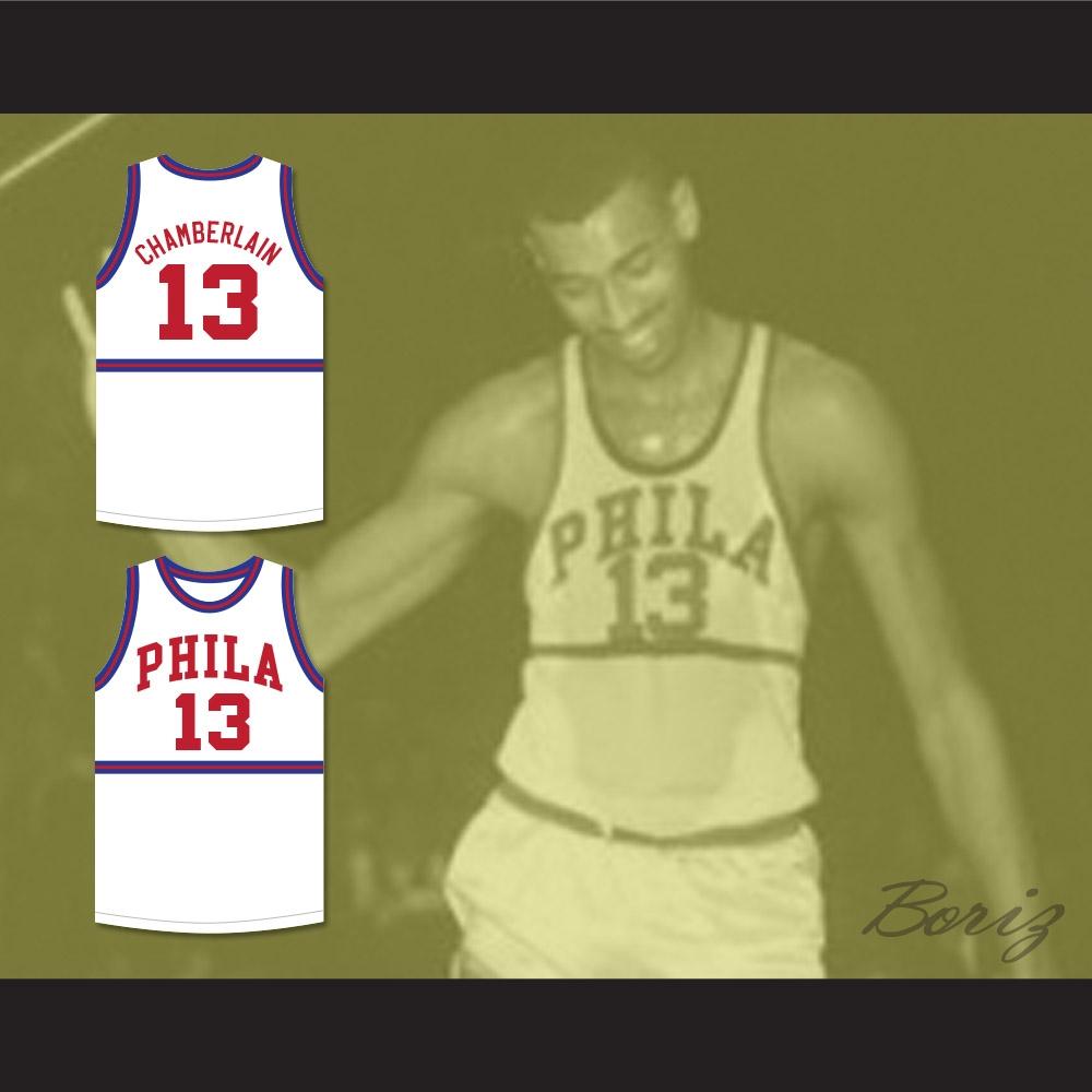 reputable site a9708 53d23 Wilt Chamberlain 13 Philadelphia Warriors White Basketball Jersey 4