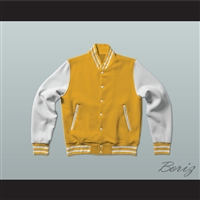 Yellow and White Varsity Letterman Jacket-Style Sweatshirt