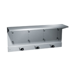 "ASI 1308-3 34"" Utility Shelf with Mop and Broom Holder, 3 Holders and 4 Hooks"