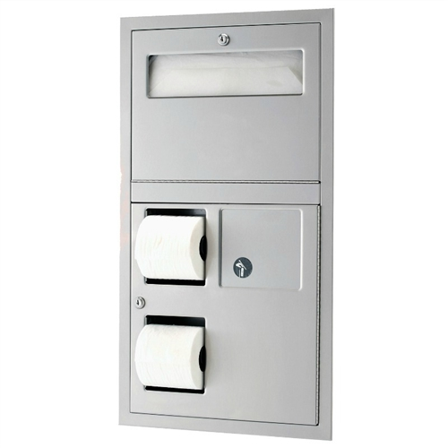 Satin Finish Bobrick 3574 ClassicSeries 304 Stainless Steel Recessed Seat Cover 16 Width x 29-1//4 Height 16 Width x 29-1//4 Height Bobrick Sanitary Napkin Disposal and Toilet Tissue Dispenser Geneva B-3574