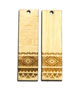 2PC (1pr) Lasercut Bamboo Rectangle Charms Aztec 48x22mm