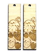 2PC (1pr) Lasercut Bamboo Rectangle Charms Monstera 48x22mm