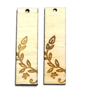2PC (1pr) Lasercut Bamboo Rectangle Charms Vine Flower 48x22mm