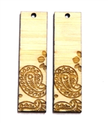 2PC (1pr) Lasercut Bamboo Rectangle Charms Flower Oval 48x22mm