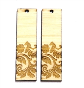 2PC (1pr) Lasercut Bamboo Rectangle Charms Leaves 48x22mm