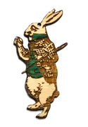 1PC  Lasercut Bamboo Small Rabbit with Clock 62x30mm