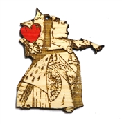1PC  Lasercut Bamboo Red Heart Queen 57x46mm
