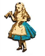 1PC  Lasercut Bamboo Alice with Potions 52x32mm