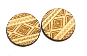 2PC (1pr)  Lasercut Aztec Pattern Rounds 20mm