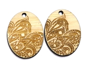 2PC (1pr)  Lasercut Oval Patterned Drops 36x26mm