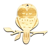 1PC  Lasercut Owl On Branch Pendant / Charm 60x69mm