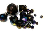 10gm Assorted Czech Fire polish Bead mix metallic purple