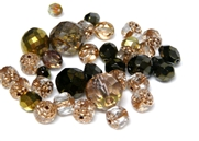 10gm Assorted Czech Fire polish Bead mix metallic bronze