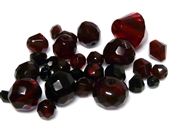 10gm Assorted Czech Fire polish Bead mix garnet red
