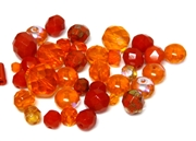 10gm Assorted Czech Fire polish Bead mix orange red