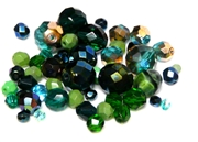 10gm Assorted Czech Fire polish Bead mix emerald green