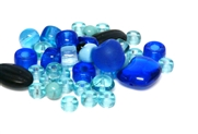 20gm czech glass beadmix mixed blues